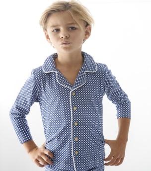 blue check granddad pajamas boys Little Label
