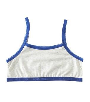 Meisjes croptop - white m blue contrast - Little Label