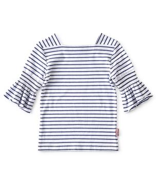 puff sleeve top meisjes - blauw gestreept - Little Label