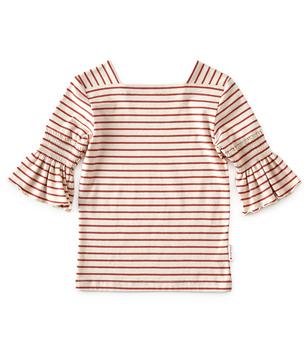 puff sleeve top meisjes - rood gestreept - Little Label