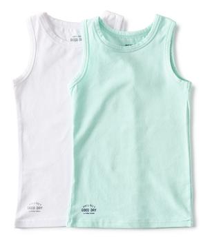 set jongenshemden wit en aqua blauw Little Label organic