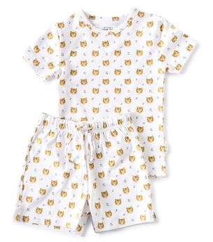 zomer pyjama jongens wit tiger print Little Label