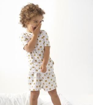 model foto zomer pyjama jongen wit tiger print Little Label