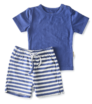 korte gestreepte baby pyjama Little Label