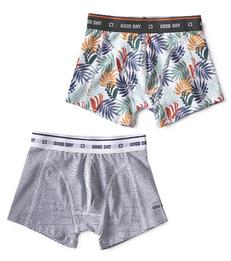 boxers mini stripe blue & palm leaves green Little Label