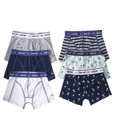 6-pack boxer shorts boys - blue & white - Little Label