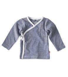 Overslag truitje - small stripe navy - Little Label