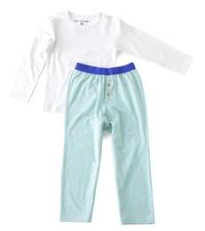 Jongens pyjama - green blue hatch