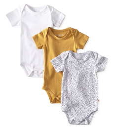 romper 3-pack - yellow white- Little Label