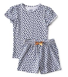 meisjes zomer pyjama - hearts blue - Little Label