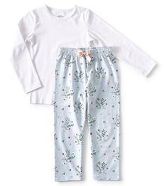 blauwe meisjes pyjama bloemen print Little Label