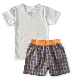 zomer pyjama jongens - blauw oranje - Little Label