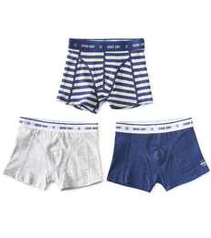 boxers shorts boys 3-piece blue stripe combi Little Label