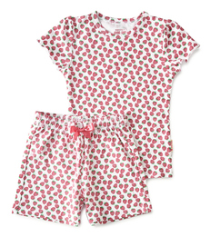 korte baby pyjama rode aardbeien Little Label