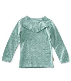 baby meisjes fancy tee - turquoise speckle - Little Label