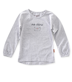 meisjes shirt lange mouw - grey mel- Little Label