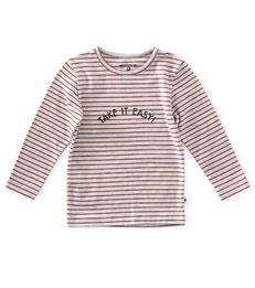 jongens longsleeve - striped grey orange red - Little Label