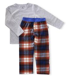 pyjama set jongens - blue orange check - Little Label