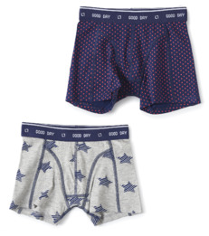 boxers set dark blue cross & grey melee star Little Label