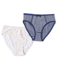 meisjes slips set - small blue stripe & sparkling gold dot Little Label