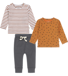 babysetje - 2 shirts en broekje - warm bruin Little Label