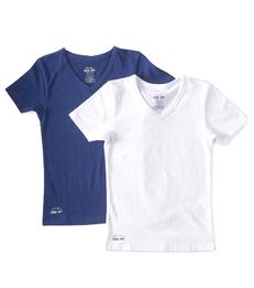 jongens hemd white & uni dark blue Little Label
