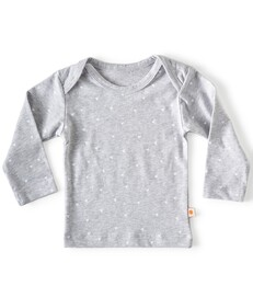 baby shirt lange mouw - grijs met hartjes print - Little Label