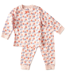 roze baby pyjama bloemen print Little Label