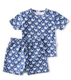 blauwe korte baby pyjama walvis print Little Label