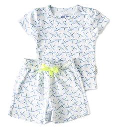 korte baby pyjama met blauwe libellen print Little Label