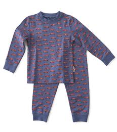 baby pyjama jongens blauw autootjes print Little Label