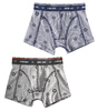 boxershorts 2-pack - almost black star & stars stripe blue