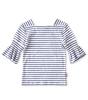 puff sleeve top meisjes - blue stripe