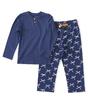 meisjes pyjama henley - blauw strikje