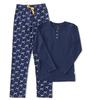 dames pyjama henley - blauw strikje