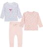 babysetje - 2 shirts en broekje - roze en hartjes