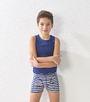 Boys boxershorts blue stripe organic cotton Little Label
